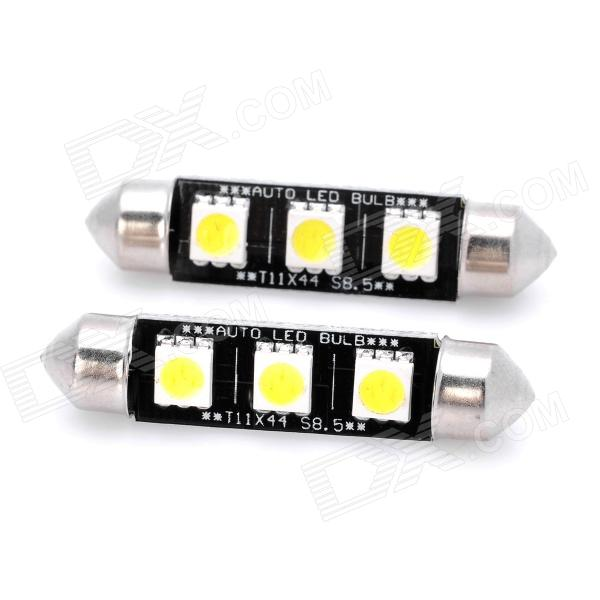 44mm 0.72W 36LM 6000K 3x5050 SMD LED White Light Car Reading / License Plate Lamp (2-Piece)