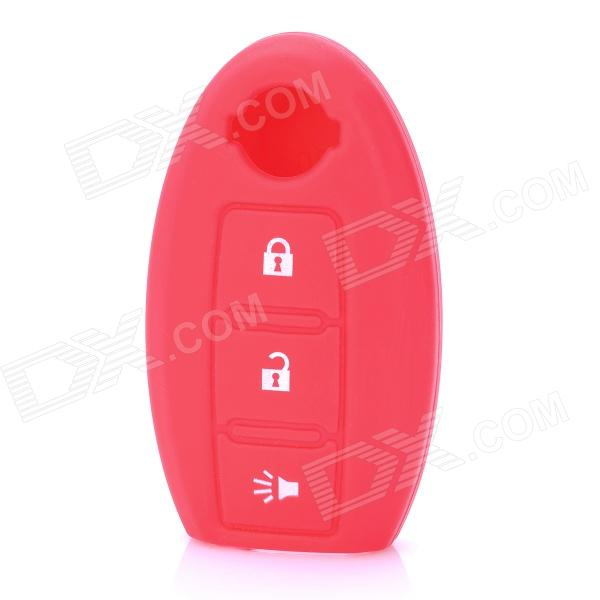Protective Silicone Case for Nissan 3-Button Remote Key - Red