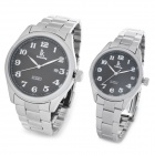 IK Couple Lovers Fashion Mechanical Wrist Watch - Black + Silver (2-Piece Pack)