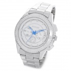 Men's Fashion Quartz Wrist Watch with Glow-in-the-Dark Pointer - White + Silver (1 x LR626)