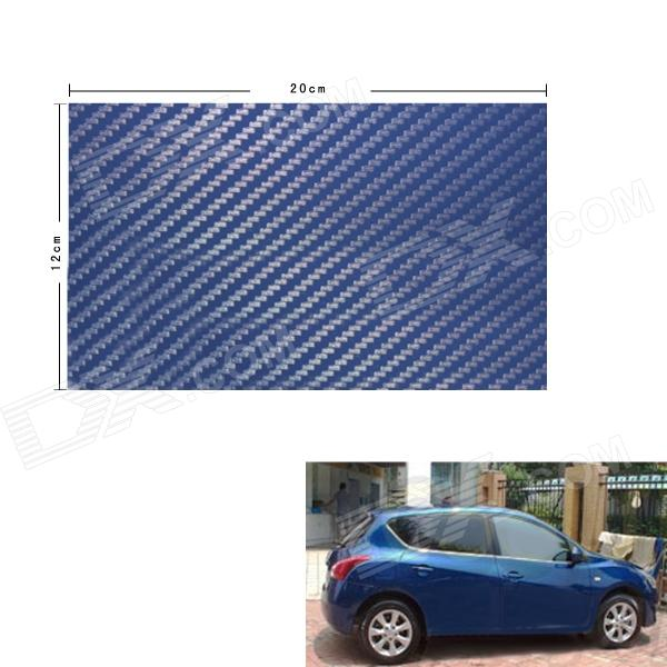Fibra de Carbono 3D Papel Hoja Decoración de coches Sticker - Azul (12 x 20cm)