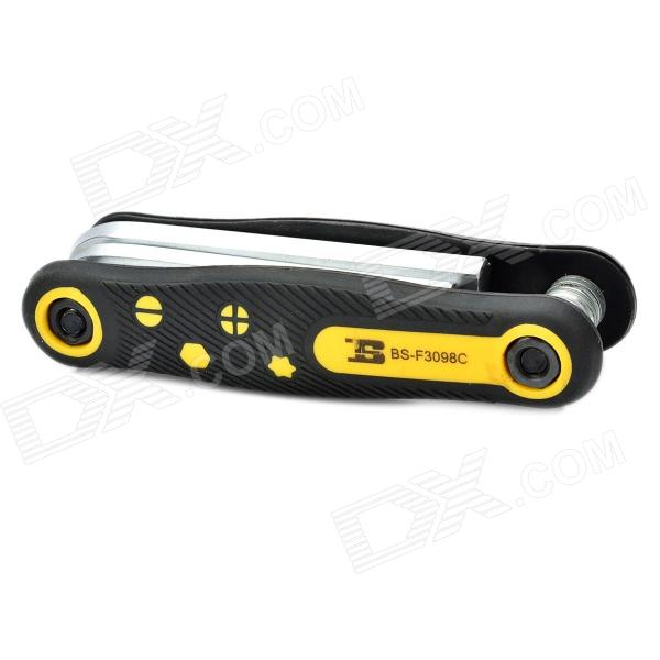 8-in-1 BOSI Professional Folding Hex Key Wrenches Set - Yellow + Black