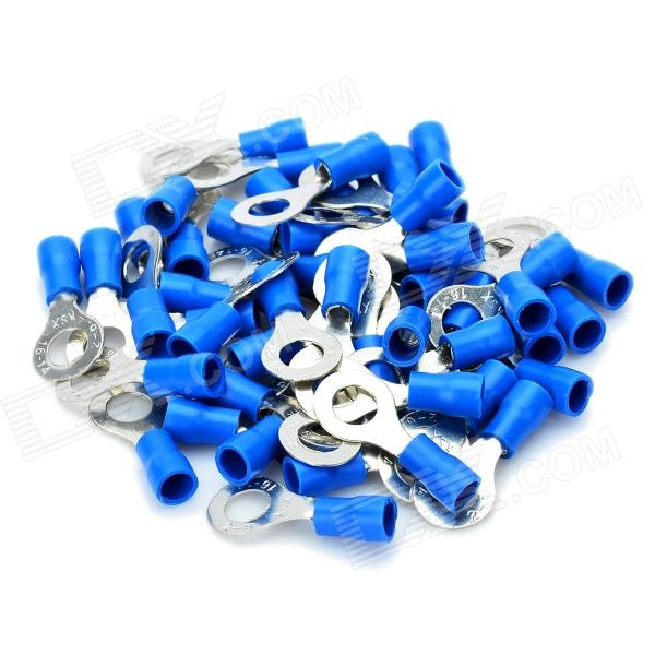 Insulated Ring Copper Connecting Terminal - Blue + Silver (6.0mm / 50-Piece Pack)