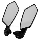 Plastic Rhombus Style Motorcycle Rearview Mirrors - Black