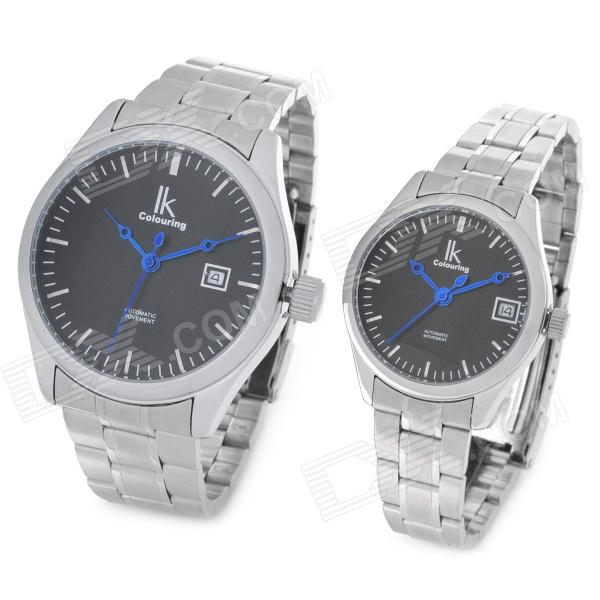 IK Couple Lovers Fashion Mechanical Wrist Watch - Silver + Black (2-Piece Pack)