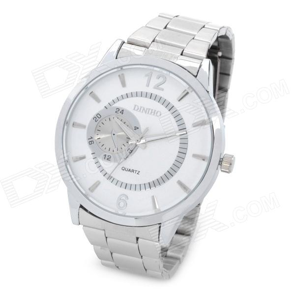 Men's Fashion Quartz Wrist Watch - White + Silver (1 x LR626) diniho fashion men s stainless steel round dial quartz wrist watch black silver 1 x lr626