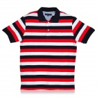 Fashion Horizontal Stripe Short Sleeves Polo Shirt T-Shirt - White + Deep Blue + Red (Size-L)