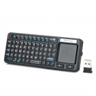 Mini Handheld Rechargeable 72-Key Bluetooth V2.0 Wireless Keyboard - Black