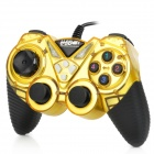 Mono Shock USB Wired Vibrating Gaming Controller Joypad - Golden + Black