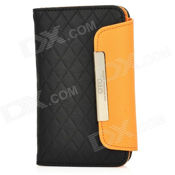 OMO Protective PU Leather Flip-Open Case for Iphone 4 / 4S - Black + Orange protective pu leather flip open case for iphone 4 4s black