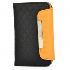 OMO Protective PU Leather Flip-Open Case for Iphone 4 / 4S - Black + Orange