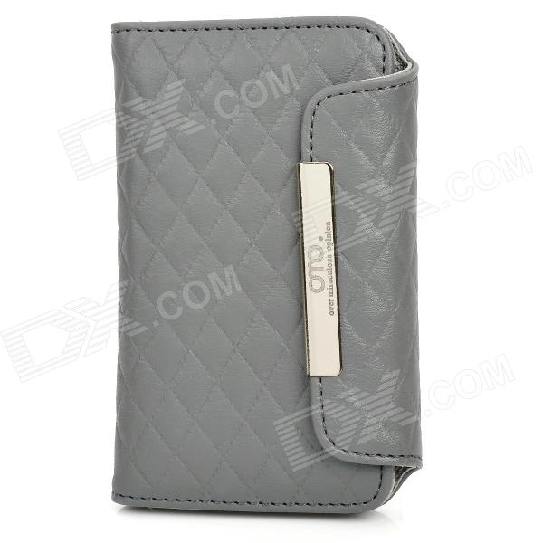 OMO Protective PU Leather Flip-Open Case for Iphone 4 / 4S - Grey protective pu leather flip open case for iphone 4 4s black