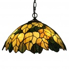 "Tiffany Pendant Light with 2 Light in Golden Leaf Patterned Shade 16"" (110-120V)"