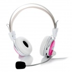 YIHAO YH-503 Stereo Headphones Headset w/ Microphone - White + Pink (3.5mm-Plug)