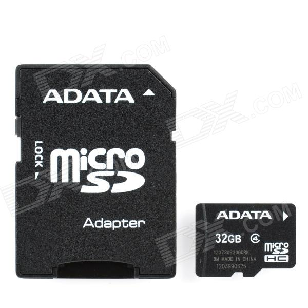 ADATA Micro SD HC / TF Memory Card w/ SD Adapter- 32GB (Class 4) флэш накопитель adata dashdrive uv128 32gb usb3 0 черно желтый