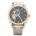SINOBI Stainless Steel Band Round Dial Mechanical Wrist Watch - Golden + Black