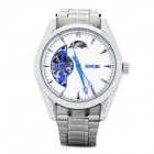 SINOBI Stainless Steel Band Round Dial Slef-Winding Mechanical Wrist Watch - White + Silver
