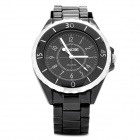 Fashion Alloy Band Water Resistant Business Wrist Watch for Men - Black (1 x 377)