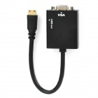 Mini HDMI Male to VGA Female Converter Adapter w/ 3.5mm Audio Jack - Black