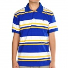 Fashion Horizontal Stripe Short Sleeves Polo Shirt T-Shirt - Blue + White + Yellow (Size-L)