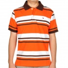 Fashion Horizontal Stripe Short Sleeves Polo Shirt T-Shirt - White + Orange + Brown (Size-M)
