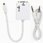 Micro HDMI Male to VGA Female Converter Adapter w/ 3.5mm Audio Jack - White