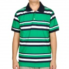 Fashion Horizontal Stripe Short Sleeves Polo Shirt T-Shirt - Black + White + Green (Size-L)