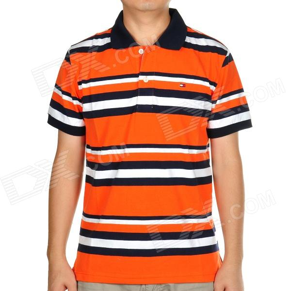 Buy Fashion Horizontal Stripe Short Sleeves Polo Shirt T-Shirt ...