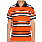 Fashion Horizontal Stripe Short Sleeves Polo Shirt T-Shirt - Black + White + Orange (Size-M)
