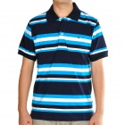 Men's Cotton Colorful Stripe Short Sleeves T-shirt - Black + White + Blue