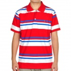 Fashion Horizontal Stripe Short Sleeves Polo Shirt T-Shirt - Red + White + Blue (Size-L)