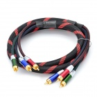 24k gold plated 3-rca male to male component av cable - black + red (150cm)