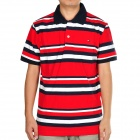 Men's Cotton Colorful Stripe Short Sleeves T-shirt - Red + White + Deep Blue