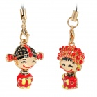 Traditional Chinese Bride and Groom Style Cellphone Strap - Golden + Red (2-Piece)