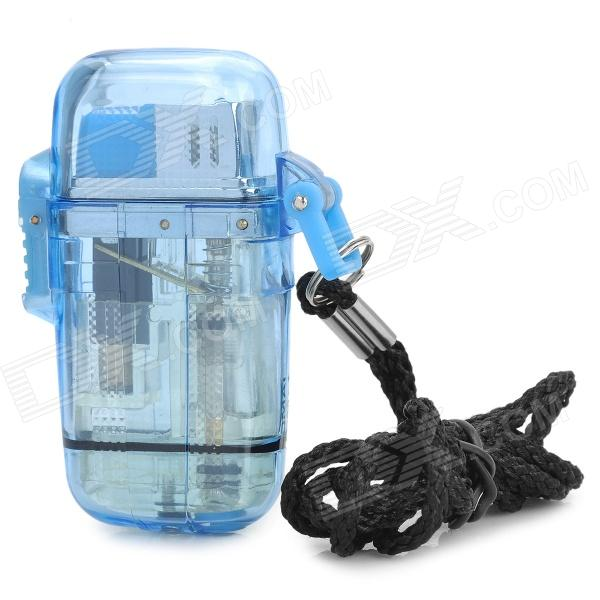 Waterproof Windproof Butane Gas Lighter with Strap - Transparent Blue