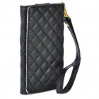 Protective PU Leather Case w/ Strap & 4 Card Slots for Iphone 4 / 4S / 3G / 3GS + More - Black