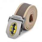 Military Fashion Canvas Belt with Batman Logo Buckle - Khaki + Green