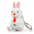 Cartoon Rabbit Style Keychain with Light and Screaming - White (3 x AG10)