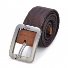 Fashion Canvas Belt with Zinc Alloy Buckle - Coffee