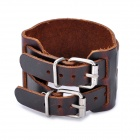 Fashion Cool Punk Style Genuine Cowhide Double Buckle Bracelet - Brown (1-Piece Pack)