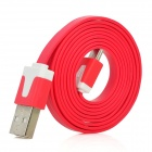USB 2.0 Male to Micro USB Male Charging Data Flat Cable for Samsung i9300 / HTC - Red (100cm)