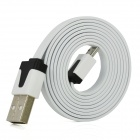 USB 2.0 Male to Micro USB Male Charging Data Flat Cable for Samsung i9300 / HTC - White (100cm)