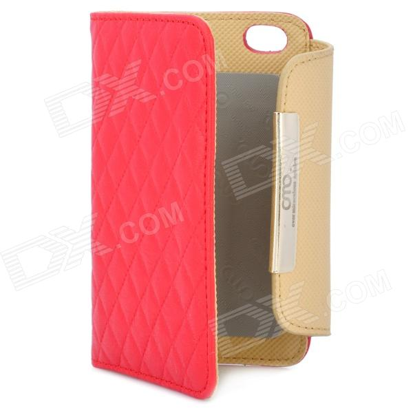 OMO Protective PU Leather Flip-Open Case for Iphone 4 / 4S - Red + Brown protective pu leather flip open case for iphone 4 4s black