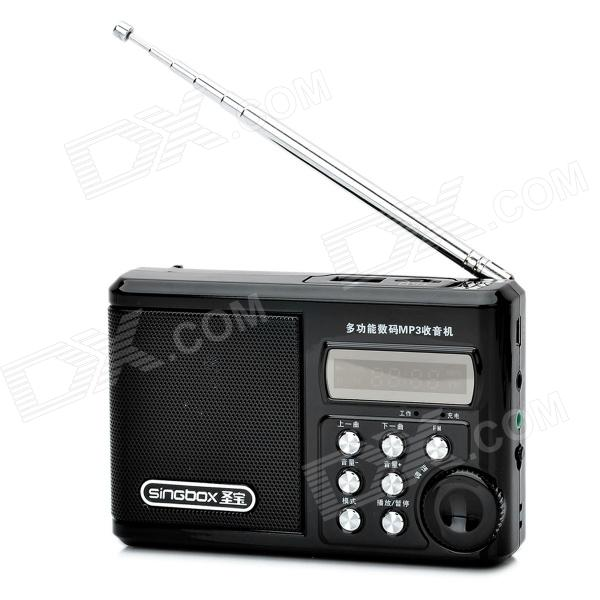 SINGBOX SV922 1.5 LCD MP3 Player Speaker w/ FM / USB / TF - Black n74u portable media player speaker magaphone w tf usb fm microphone black