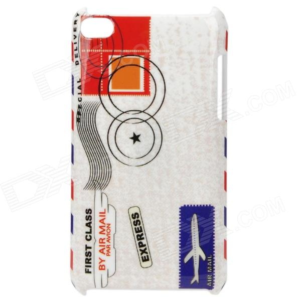Air Mail Package Pattern Protective PC Back Case for Ipod Touch 4 - White + Red
