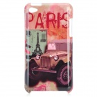 Stylish Paris Car Pattern Protective PC Back Case for Ipod Touch 4 - Red + Coffee