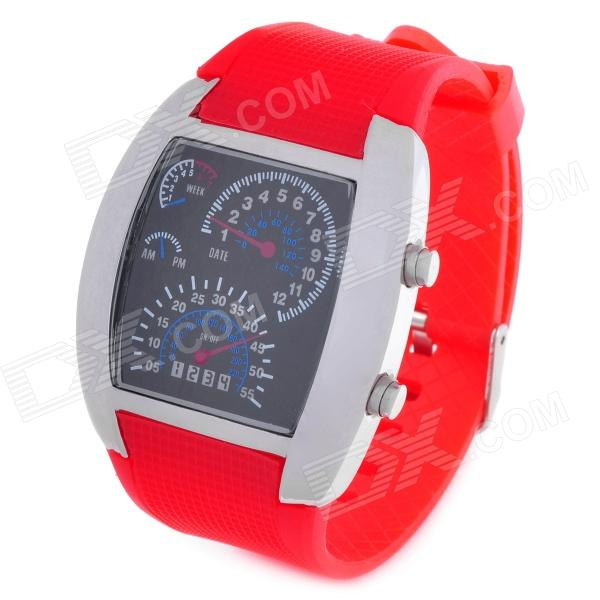 Sports Fashion Blue / White LED Analog Wrist Watch - Silver + Red (2 x CR2016) fashion stainless steel red yellow led water resistant wrist watch black 2 x cr2016