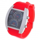 Sports Fashion Blue / White LED Analog Wrist Watch - Silver + Red (2 x CR2016)