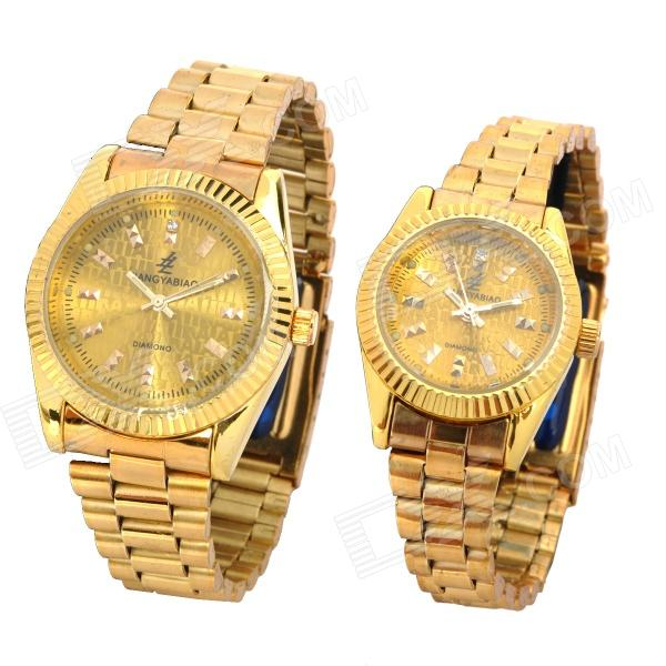 Stylish Couple Lovers Magnets Lowering Blood Pressure Quartz Wrist Watch - Golden (2-Piece Pack) bobo bird wp14 2 p14 3 lovers quartz watches for men women elk dial natural wooden watch with colorful mixed wooden band