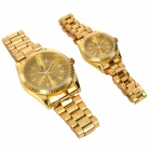 Stylish Couple Lovers Magnets Lowering Blood Pressure Quartz Wrist Watch - Golden (2-Piece Pack)